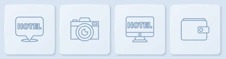 Set line Location hotel, Online booking, Photo camera and Wallet. White square button. Vector