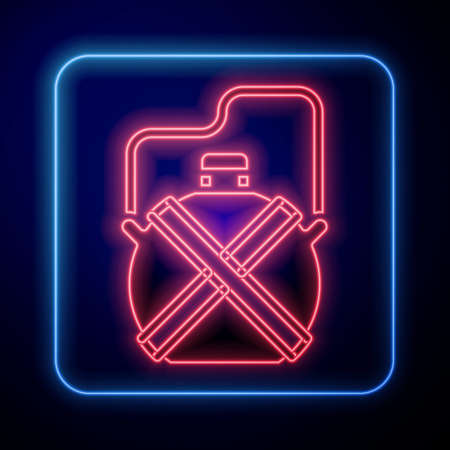 Glowing neon Canteen water bottle icon isolated on blue background. Tourist flask icon. Jar of water use in the campaign. Vector