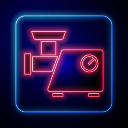 Glowing neon Kitchen meat grinder icon isolated on blue background. Vector