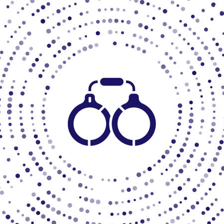 Blue Handcuffs icon isolated on white background. Abstract circle random dots. Vector