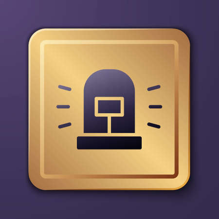 Purple Flasher siren icon isolated on purple background. Emergency flashing siren. Gold square button. Vector