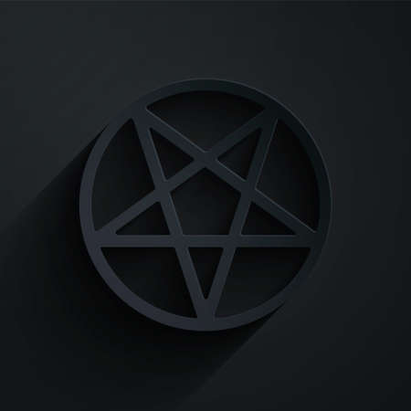Paper cut Pentagram in a circle icon isolated on black background. Magic occult star symbol. Paper art style. Vector