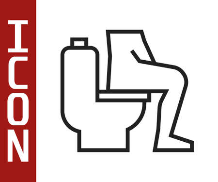 Black line Men sitting on the toilet and Constipation are experiencing severe abdominal pain icon isolated on white background. Vector