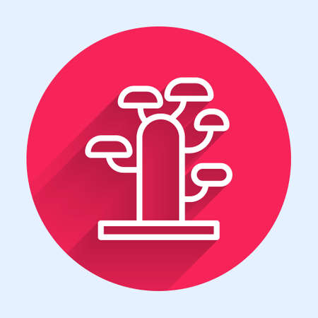 White line African tree icon isolated with long shadow. Baobab, acacia and other. Red circle button. Vector