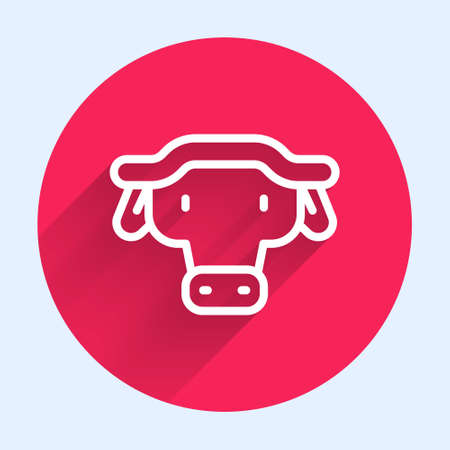 White line African buffalo head icon isolated with long shadow. Mascot, african savanna animal. Wild ox, carabao or bison bull with fused horns. Red circle button. Vector