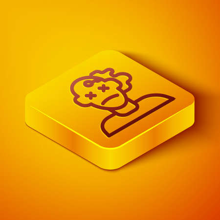 Isometric line Murder icon isolated on orange background. Body, bleeding, corpse, bleeding icon. Concept of crime scene. Yellow square button. Vector Ilustrace