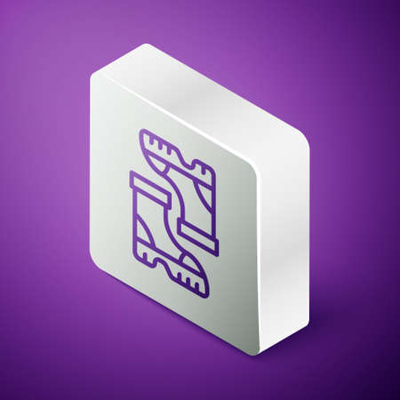 Isometric line Waterproof rubber boot icon isolated on purple background. Gumboots for rainy weather, fishing, gardening. Silver square button. Vector