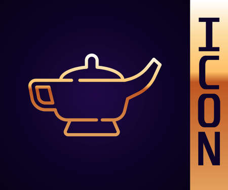 Gold line Magic lamp or Aladdin lamp icon isolated on black background. Spiritual lamp for wish. Vector