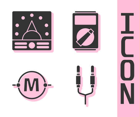 Set Audio jack, Ampere meter, multimeter, voltmeter, Electric circuit scheme and Multimeter icon. Vector