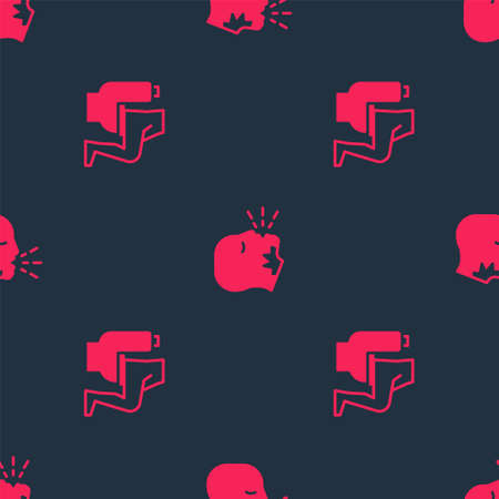 Set Constipation and Man coughing on seamless pattern. Vector Stock Illustratie