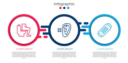 Set line Constipation, Deaf and Medical protective mask. Business infographic template. Vector