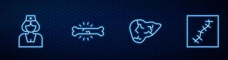 Set line Hepatitis virus, Nurse, Bone pain and Scar with suture. Glowing neon icon on brick wall. Vector