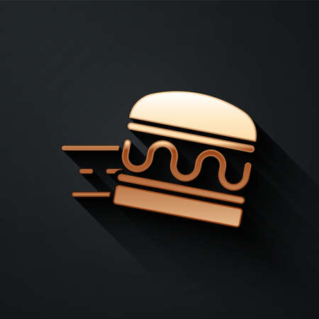 Gold Online ordering and burger delivery icon isolated on black background. Long shadow style. Vector Vecteurs