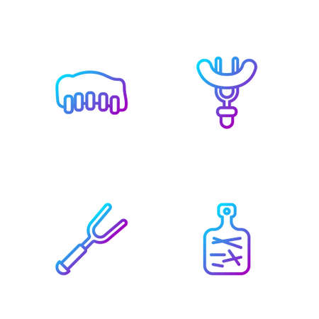 Set line Cutting board, Barbecue fork, Grilled pork bbq ribs and Sausage on the. Gradient color icons. Vector