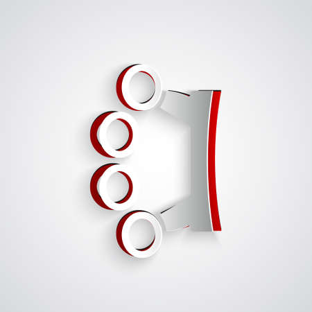 Paper cut Brass knuckles icon isolated on grey background. Paper art style. Vector Vettoriali