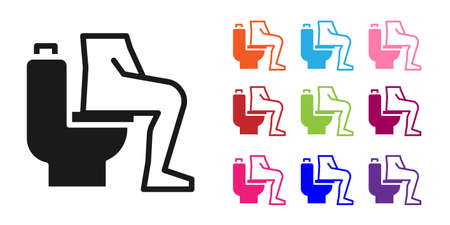 Black Men sitting on the toilet and Constipation are experiencing severe abdominal pain icon isolated on white background. Set icons colorful. Vector