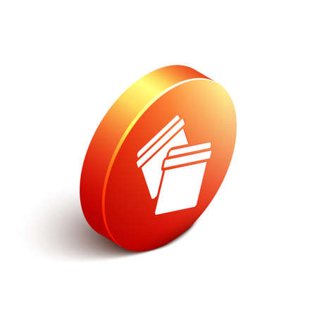 Isometric Plastic bag icon isolated on white background. Orange circle button. Vector