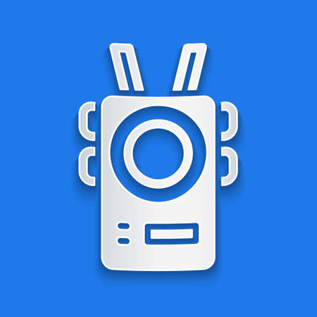 Paper cut Police body camera icon isolated on blue background. Paper art style. Vector