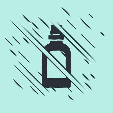 Black Plastic bottle for laundry detergent, bleach, dishwashing liquid or another cleaning agent icon isolated on green background. Glitch style. Vector Stock Illustratie