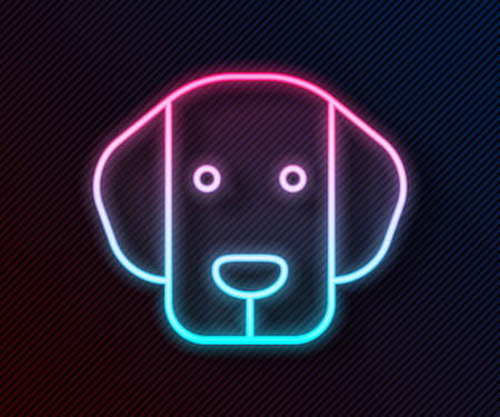 Glowing neon line Dog icon isolated on black background. Vector