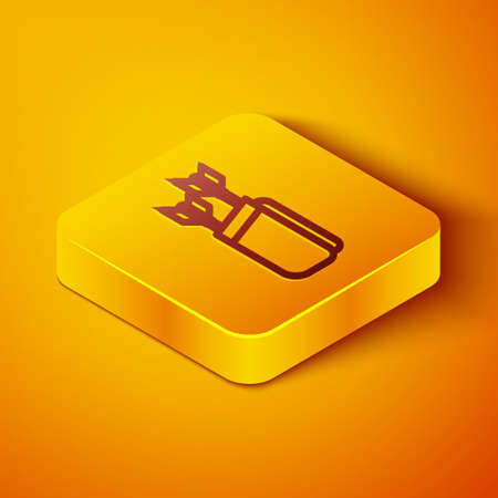 Isometric line Quiver with arrows icon isolated on orange background. Yellow square button. Vector