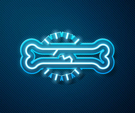 Glowing neon line Bone pain icon isolated on blue background. Orthopedic medical. Disease of the joints and bones, arthritis. Vector