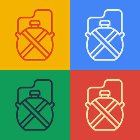Pop art line Canteen water bottle icon isolated on color background. Tourist flask icon. Jar of water use in the campaign. Vector