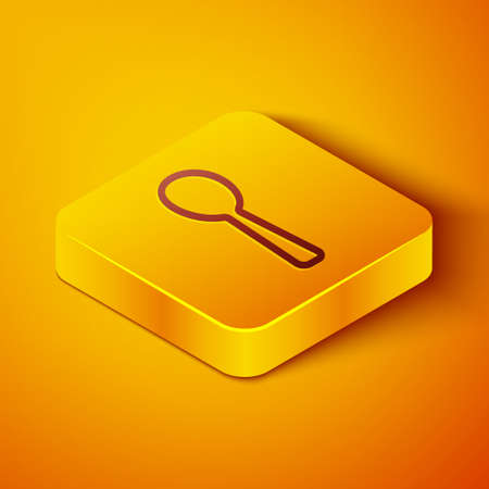 Isometric line Spoon icon isolated on orange background. Cooking utensil. Cutlery sign. Yellow square button. Vector