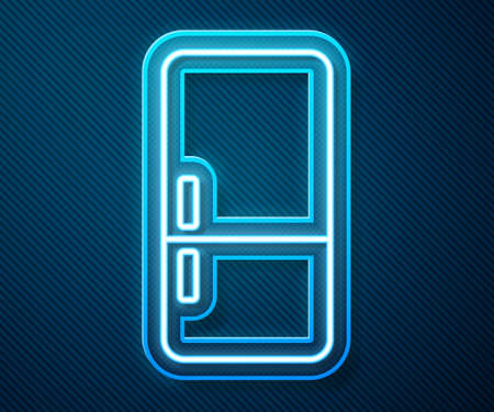 Glowing neon line Refrigerator icon isolated on blue background. Fridge freezer refrigerator. Household tech and appliances. Vector