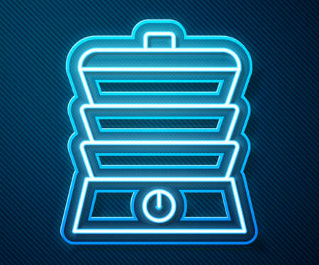 Glowing neon line Slow cooker icon isolated on blue background. Electric pan. Vector