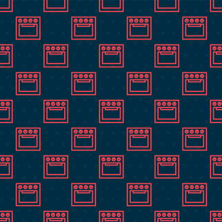 Red line Oven icon isolated seamless pattern on black background. Stove gas oven sign. Vector