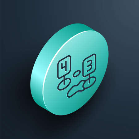 Isometric line Marker of crime scene icon isolated on black background. Turquoise circle button. Vector