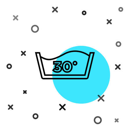 Black line Washing under 30 degrees celsius icon isolated on white background. Temperature wash. Random dynamic shapes. Vector Vektorgrafik