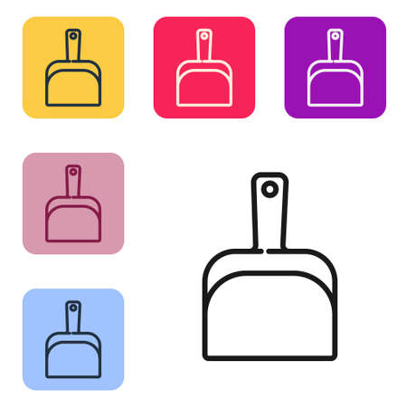 Black line Dustpan icon isolated on white background. Cleaning scoop services. Set icons in color square buttons. Vector