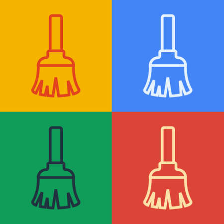 Pop art line Feather broom for cleaning icon isolated on color background. Feather duster. Vector Ilustracja