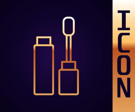 Gold line Mascara brush icon isolated on black background. Vector