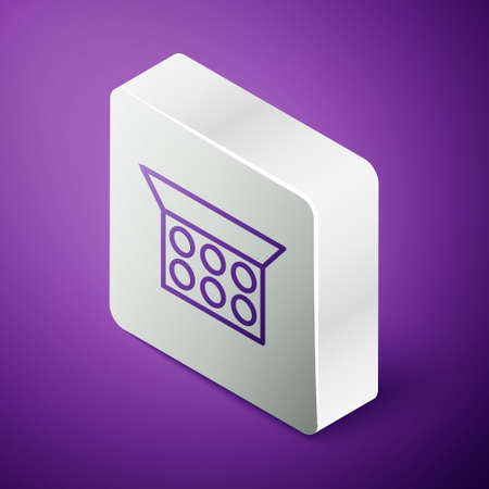 Isometric line Makeup powder with mirror icon isolated on purple background. Silver square button. Vector