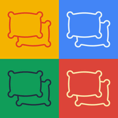Pop art line Rectangular pillow icon isolated on color background. Cushion sign. Vector