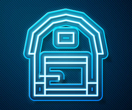Glowing neon line Farm house icon isolated on blue background. Vector