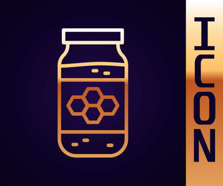 Gold line Jar of honey icon isolated on black background. Food bank. Sweet natural food symbol. Vector