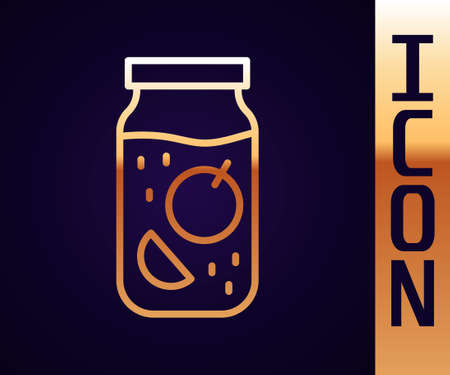 Gold line Jam jar icon isolated on black background. Vector