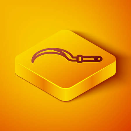 Isometric line Sickle icon isolated on orange background. Reaping hook sign. Yellow square button. Vector 向量圖像