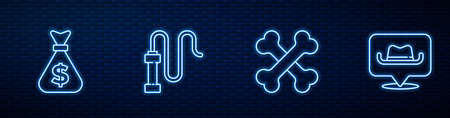 Set line Crossed human bones, Money bag, Leather whip and Location cowboy. Glowing neon icon on brick wall. Vector