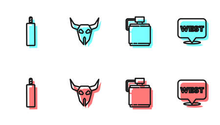 Set line Canteen water bottle, Dynamite bomb, Buffalo skull and Pointer to wild west icon. Vector