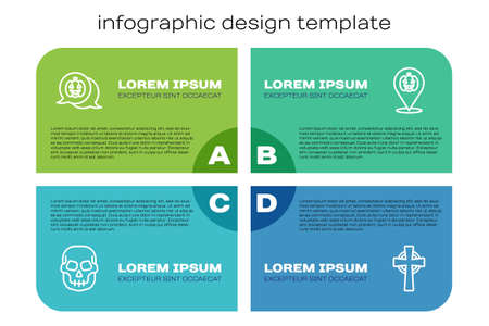 Set line Skull, Pumpkin, Tombstone with cross and . Business infographic template. Vector Illustration
