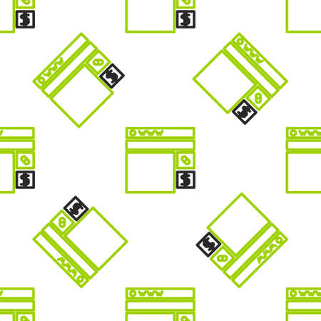 Line Buying drugs online icon isolated seamless pattern on white background. Online buying symbol. Vector Illustration