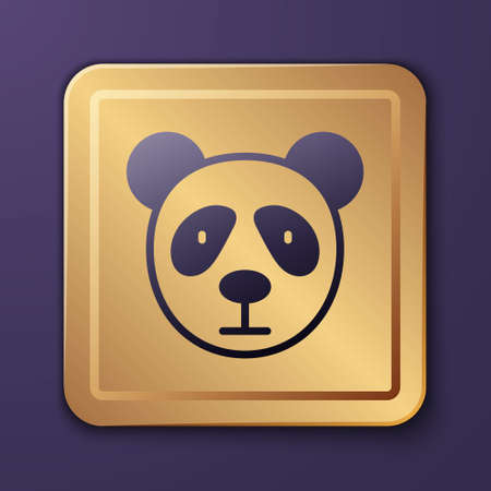 Purple Cute panda face icon isolated on purple background. Animal symbol. Gold square button. Vector  イラスト・ベクター素材