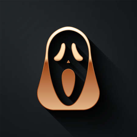 Gold Funny and scary ghost mask for Halloween icon isolated on black background. Happy Halloween party. Long shadow style. Vector