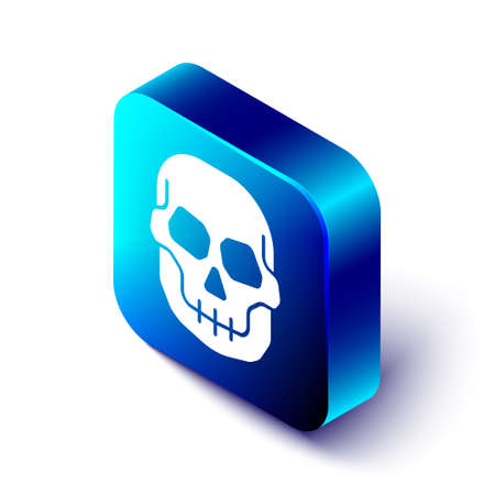 Isometric Skull icon isolated on white background. Happy Halloween party. Blue square button. Vector