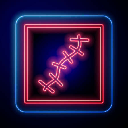Glowing neon Scar with suture icon isolated on blue background. Vector